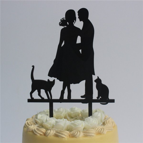 wedding cake decoration bride groom couple with 2 cats silhouette cake topper