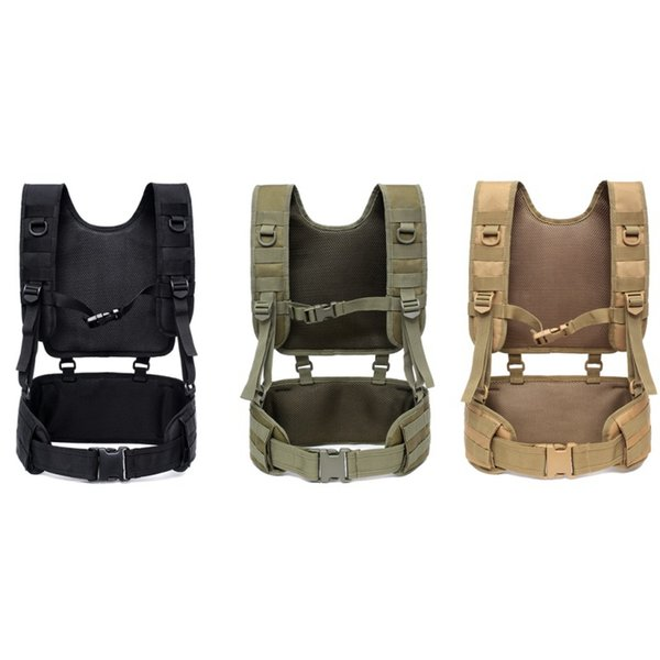 Outdoor Comfortable Pads Training Tactical Padded Battle Belt With Detachable Suspender Straps Combat Duty Belt