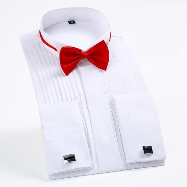 "Men's Tuxedo Shirts With French Cuffs And Bow Tie 1/4"" Pleats Long Sleeve White Wedding Cocktail Prom Party Evening Dress Shirt Y190415"