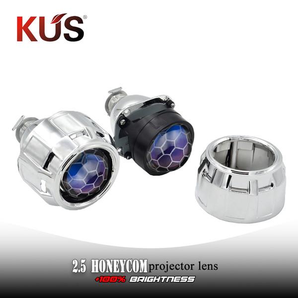 2.5 Inch Blue Coating Honeycom Bi Xenon lente del proyector de plata ajuste de la máscara H4 H7 Car faro de la linterna motocicleta del coche montaje kit