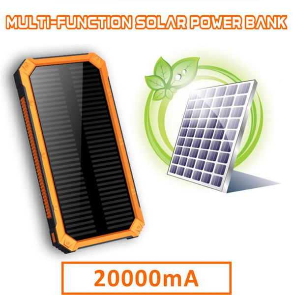 Free Shipping 20000mAh Portable Solar Panel Power Bank Dual USB Output SOS Help Camping Light Charge for Mobile Phone Tablet Retail Box