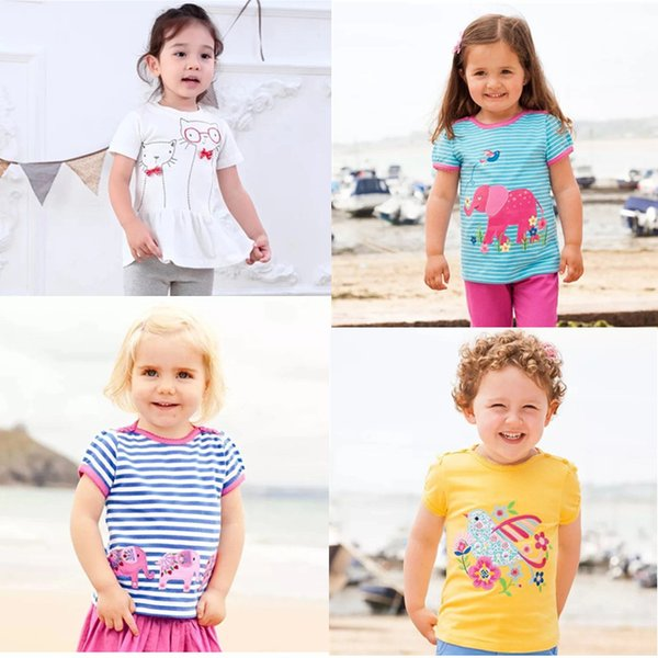 INS Embroidery kids designer clothes Girls t-shirts Cotton Striped Children Tee Cartton Elephant Cat Bow Flower Kids Designer Clothes Girls