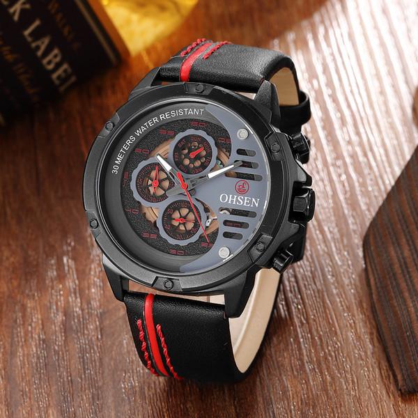 OHSEN Mode Casual Quartz Rouge Hommes Montre Multi fonctionnelle Bracelet En Cuir Étanche Sport Montre Homme Horloges