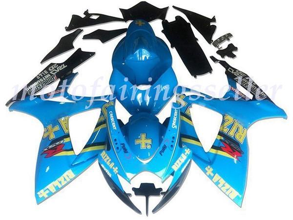 I nuovi ABS di plastica carenature Fit Kit Per blu Suzuki GSXR600 GSXR750 GSXR600 R750 K6 2006 2007 Injection Mold luminoso