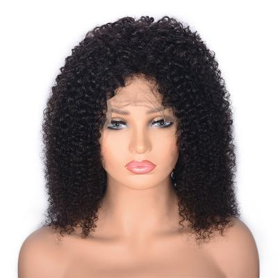Kinky Curly Virgin Hair Wigs Glueless Malaysian Human Hair Lace Front Wig with Baby Hair for Women Ping