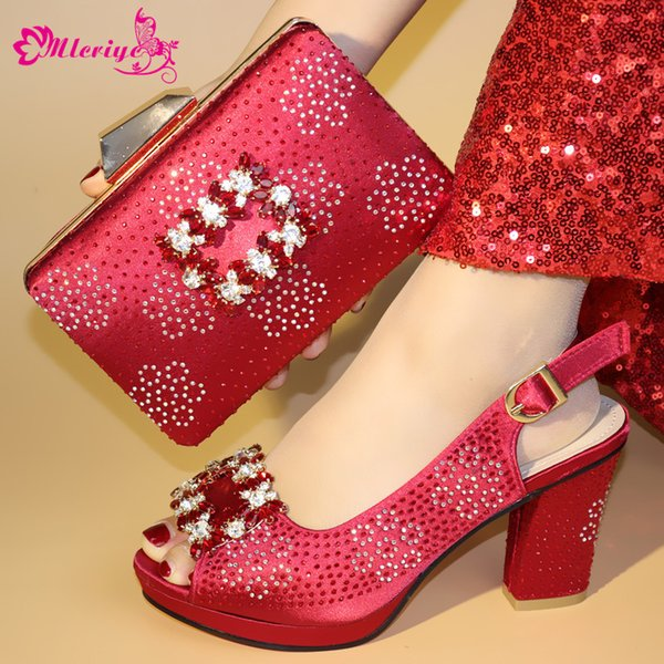 95-2 WINE Color Matching Women Shoes and Bags Set Decorated with Rhinestone African Shoe and Bag Set for Party In Women Italy Shoes