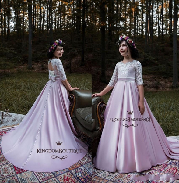 Romantic Lilac Lavender Flower Girl Dresses For Boho Weddings Princess A Line Half Sleeve Lace Satin Kids Toddler Pageant Gowns