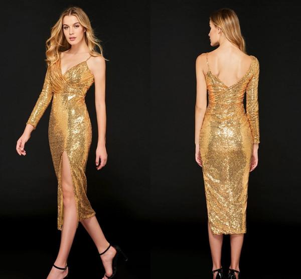 Unique Neck Sparkly Gold Sequins Prom Evening Dresses Tea Length One shoulder Long Sleeves Formal Cocktail Red Carpet Dress