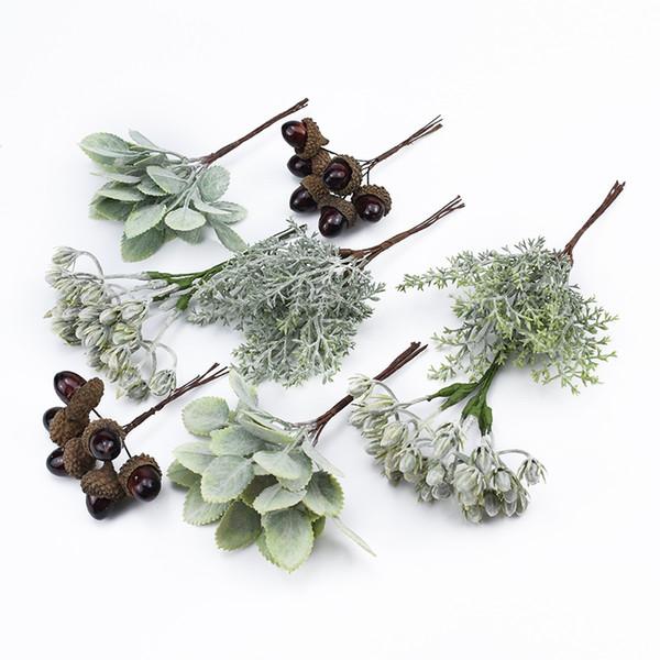 6pcs plantes artificielles fleurs décoratives guirlandes décorations de noël pour la maison mariage cadeaux de bricolage boîte fleurs pour scrapbooking