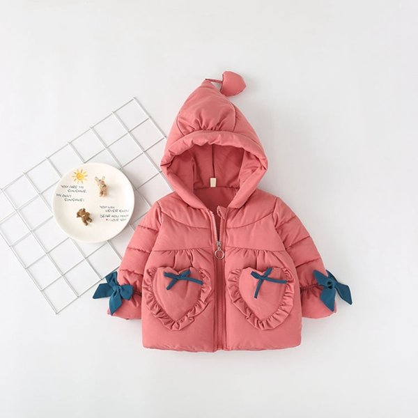 Warm Down Jacket Toddler Winter Infants Kids Thicken Hooded Sweet Bow Cotton-padded Baby Girl Winter Coats 2018