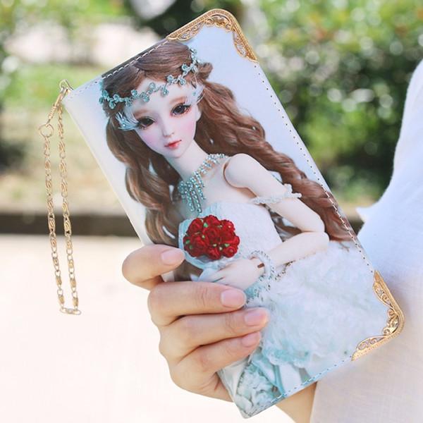 2019style Cartoon Girls Clutch Wallets Lady Pu Leather Long Wallets Cute Beautiful Pattern Printing Cash Pocket Female Purse 896