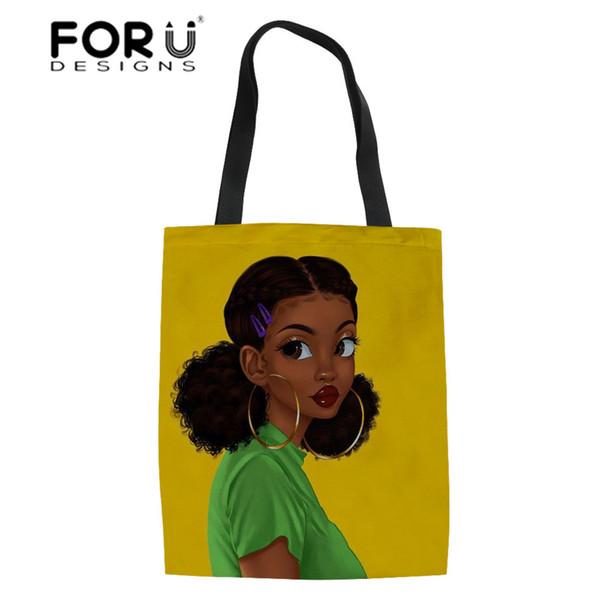 FORUDESIGN African American Black Art Women Shopping Bags Ladies Top-Handles Bag Girls Large Bookbag Females Eco Bag for Recycle