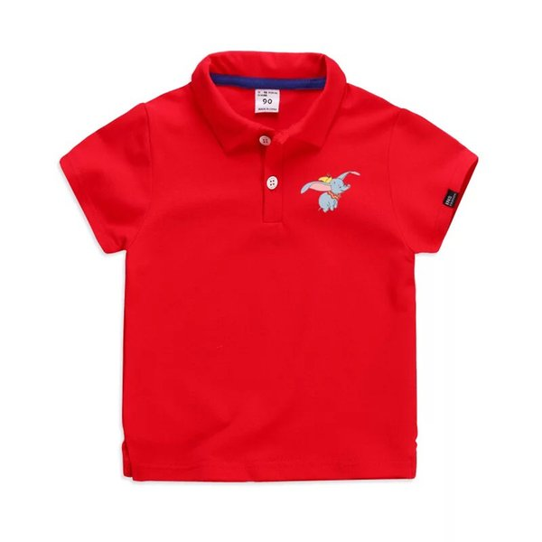 Summer boys polo shirt short sleeve children Breathable caotoon flying elephant tops kids brand shirts 2-7 boy girl solid color shirt