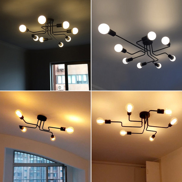Study room creative personality wrought iron lamps Nordic American style modern living room lamp bedroom clothing store ceiling lamp