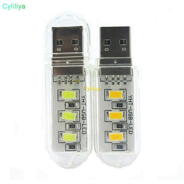 Lámpara de bolsillo blanco puro 8 3 LED tira LED noche de la luz llavero linterna de la lámpara de energía portátil USB Mini unidad USB