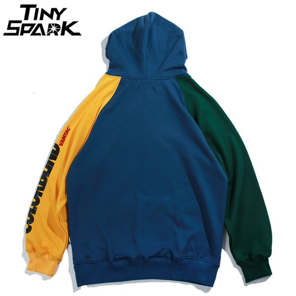 2019 Hip Hop Hoodie Sweatshirt Mens Color Block Patchwork Harajuku Hoodie Streetwear Casual HipHop Pullover Oversized Autumn 2019 New V191129 From