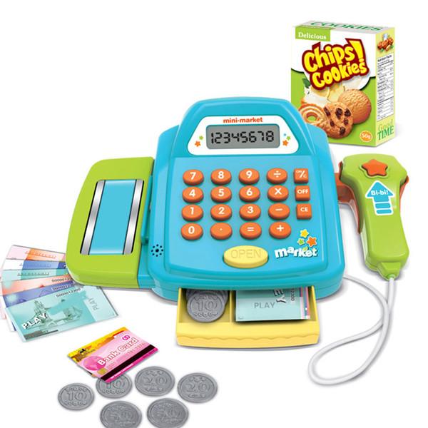 Mantimentos baratos Brinquedos Caixa de Brinquedo Caixa Registradora com Calculadora Real Moedas de Legumes Fingir Jogar Brinquedos, Caixa de Presente