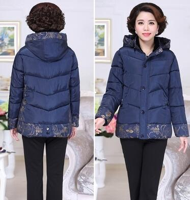 Winter cotton jacket middle age elderly women cotton coat winter mother clothing print thick wadded jackets for plus size