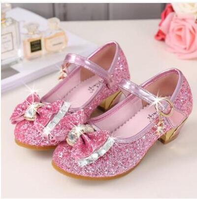 5 colores niños princesa sandalias niños niñas zapatos de boda tacones altos zapatos de vestir bowtie zapatos dorados para niñas GB1161