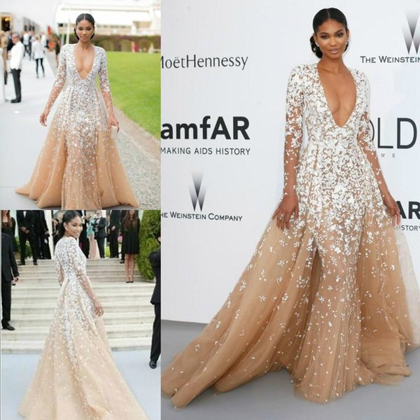 Zuhair Murad Designer Red Carpet Celebrity Evening Dresses Long Sleeve Sexy Deep V Neck Champagne Pageant Special Occasion Party Prom Gowns