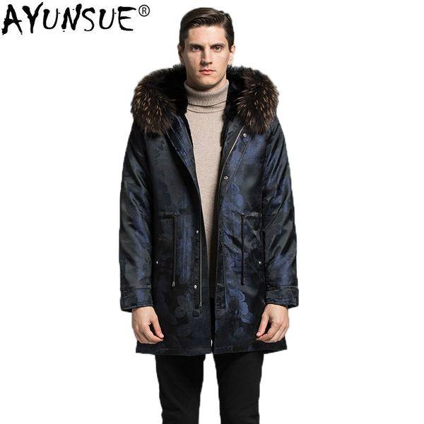 AYUNSUE Real Fur Parka Men Jacket Winter Rex Rabbit Fur Liner Long Coat Big Raccoon Collar Parkas Veste Homme Hiver KJ1599