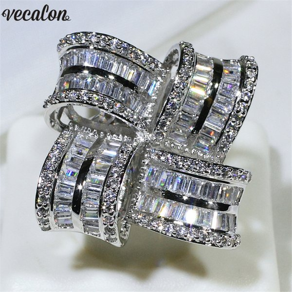 Vecalon Luxo Grande Flor Promessa anel 925 prata esterlina de Noivado De Diamante anéis de banda de casamento para as mulheres homens Dedo Jóias