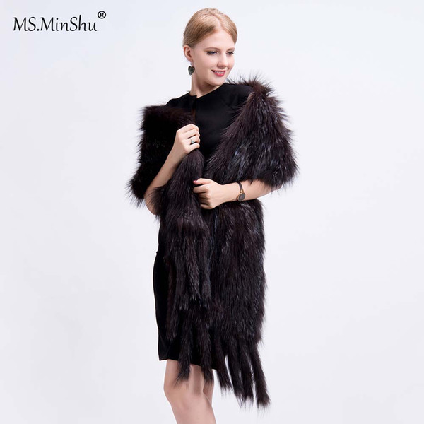 98ee0ceef958c Ms.MinShu Luxury Fox Hair Shawl Real Fox Fur Wrap Winter Autumn Hand Knit  Natural Fox Fur Scarf With Fringes Stole Pink Scarf Ruffle Scarf From ...