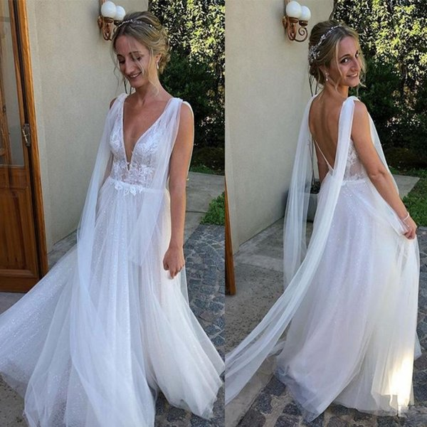 Bohemian Beach Wedding Dresses Backless Deep V Neck Backless Bridal Dress Simple Wear Tulle And Lace Cheap Country Style Wedding Gowns