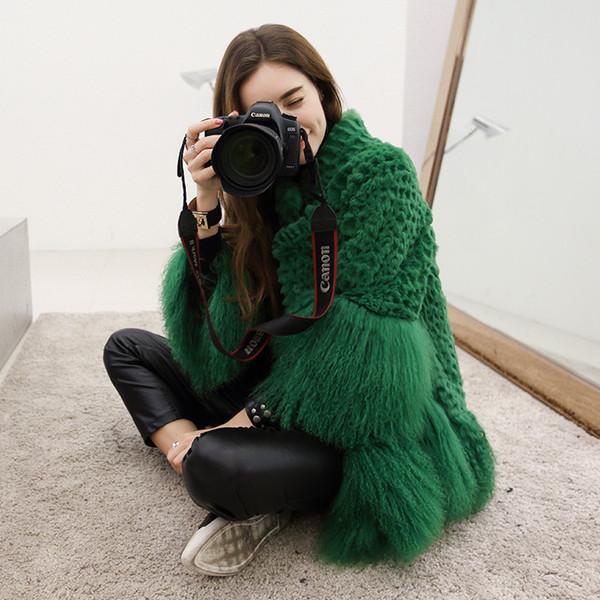 Piel de conejo natural y mongolia remiendo de piel de oveja abrigos de invierno las mujeres se colocan el cuello suelta ajuste real abrigo prendas de vestir exteriores 2017 nuevo