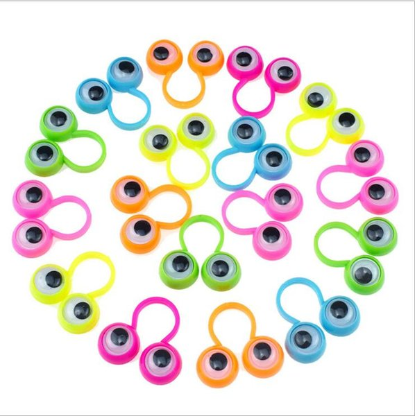 Children Novelty Toy Multi Color Eye Finger Puppets Plastic Rings With Wiggle Eyes Hot Sale party finger Toy Kids Fidget Relief Toys LT518