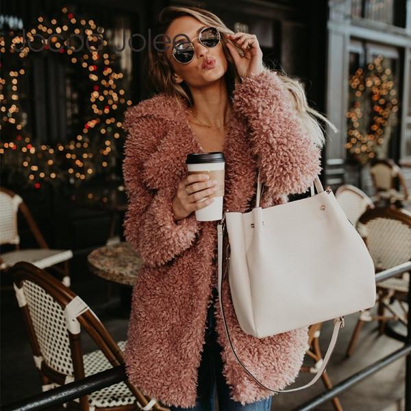 Jocoo Jolee Donne Faux Fur Coat inverno Teddy cappotto Fluffy Jacket Vintage maniche lunghe Cappotto Donna Trench lana Plus Size