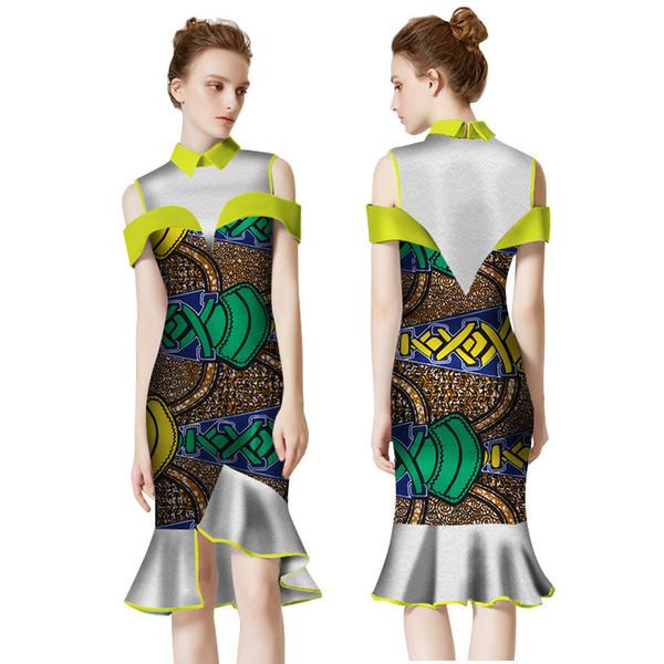 2019 летние африка платья для женщин vestidos кружева с принтом ткани шить африка одежда оборками африканская одежда WY2275
