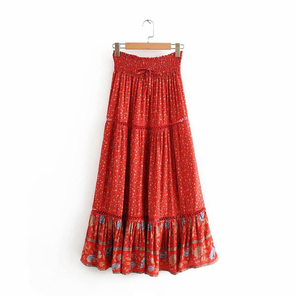 best selling Women summer Bohemian beach skirts red floral print elastic waist tied holiday seaside maxi skirt 2020 new spring long boho skirts female