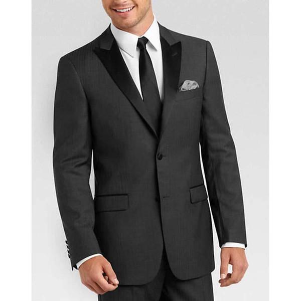 Yeni gri Slim Fit takım elbise Smokin Klasik Stil Damat İş Elbise Düğün siyah erkekler için Suits (ceket + pantolon + Kravat) mens