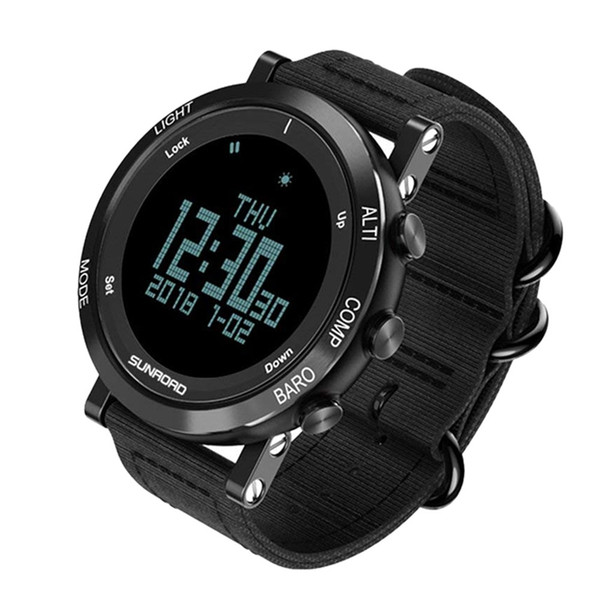 Sunroad Men'S Smart Digital Barometer Altimeter Compass Waterproof Watch With Led Screen Large Face Altimeter Watches And Wate