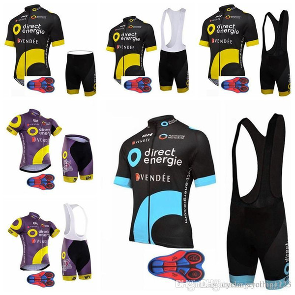 2019 Men Summmer Direct Energie Cycling Jersey Kits mountain bike clothes breathable quick dry racing sports bib shorts 9D gel pad A0506