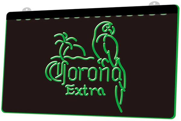 LS0102 Corona Extra Parrot Beer RGB Multiple Color Remote Control 3D Engraving LED Neon Light Sign Shop Bar Pub Club