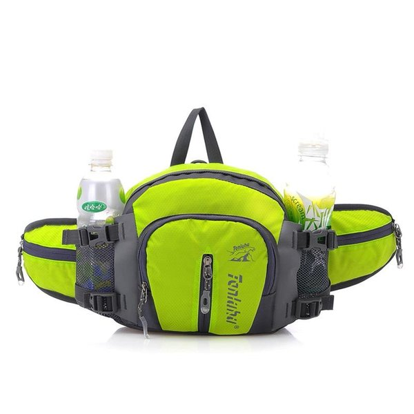 Wholesale- 12L Unisex Waterproof Nylon Running Waist Bags with Bottle of Water Women Running Waist Belt Tactical Sport Bag for girl bicycle