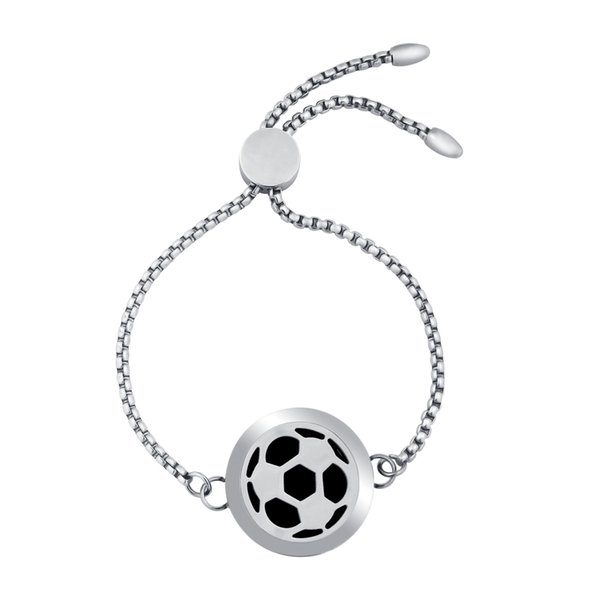 25mm Football Aromatherapy Diffuser Bracelet Adjustable Stainless Steel Essential Oil Diffuser Locket Bracelets Women Jewelry Gift