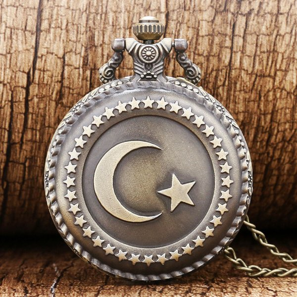 pocket watches for men Bronze Turkey Flag Design Moon Star Circle Quartz Antique Pocket Watch for Men and Women Free Shipping