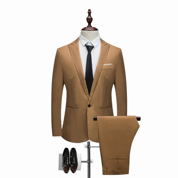 CALOFE  Men Suit Fashion Solid Suit 2018 Casual Slim Fit 2 Pieces Mens Wedding Suits Male Plus Size 3XL Jacket Coat Pant