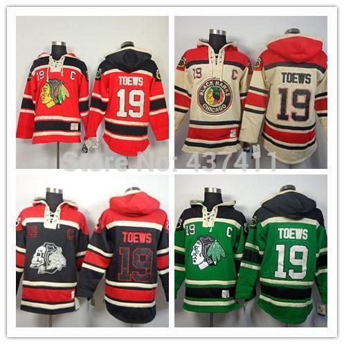 2015New Чикаго Блэкхокс Толстовки трикотажных изделий # 19 Тэйвз Old Time Hockey Толстовки Толстовки Черный череп Зеленый Красный Бежевый M-