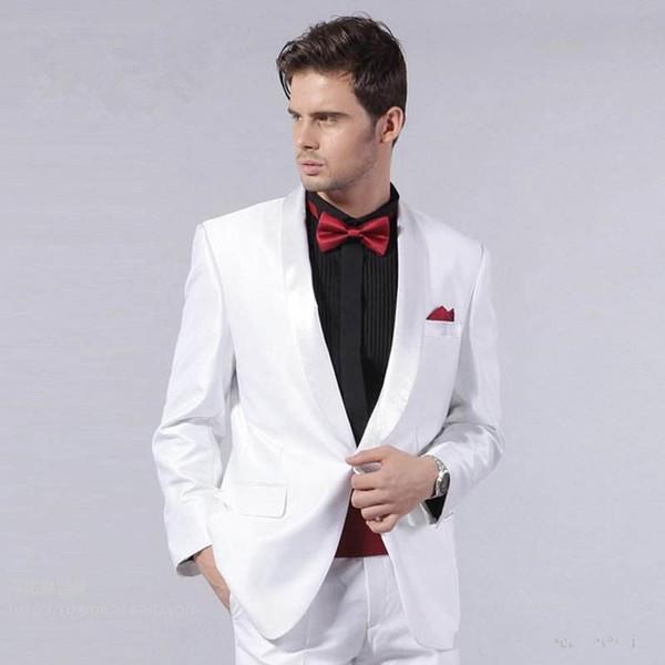 New White Men Suits Wedding Groom Wear Tuxedos Shawl Lapel 2 Pieces (Jacket+Pants) Bridegroom Suits Best Man Blazer 81