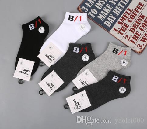 Tide models men's socks number pattern printing Spring and summer fashion men's boat socks invisible socks Cotton breathable men&#