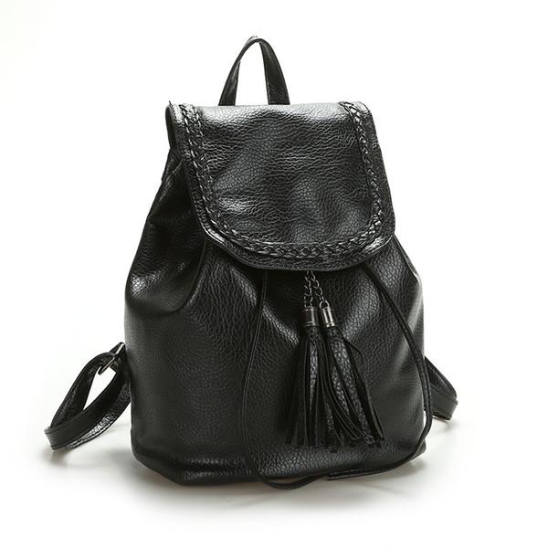 2019 neue kleine rucksack für frauen pu-leder rucksack kordelzug schultaschen für mädchen im teenageralter mode quaste rucksack back pack