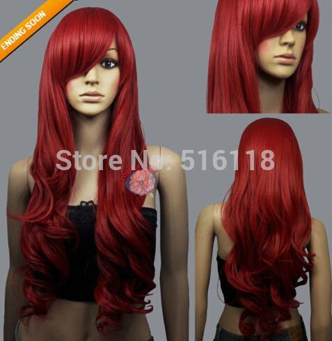 Горячий ~ темно-красный вьющийся волнистый длинный парик косплей + бесплатная шапка