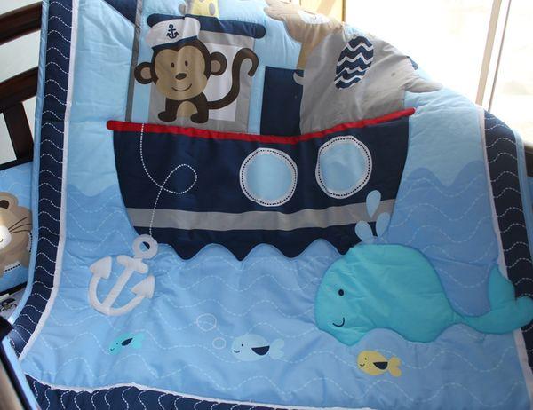 Blue Sailing Baby bedding set 7Pcs Cot bedding set for baby Crib bedding set Comforter Crib Sheet Dust Ruffle Embroidery Monkey elephant