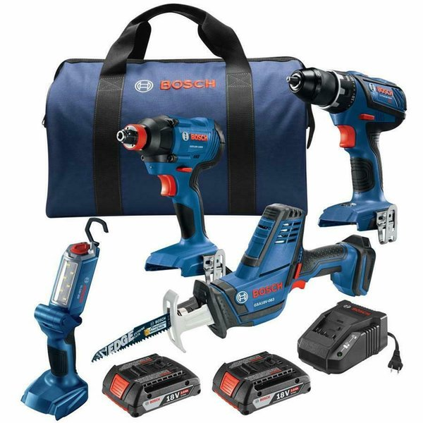New BOSCH 4-Tool 18-Volt Li-Ion Cordless Combo Kit with Bag & 2 Batteries