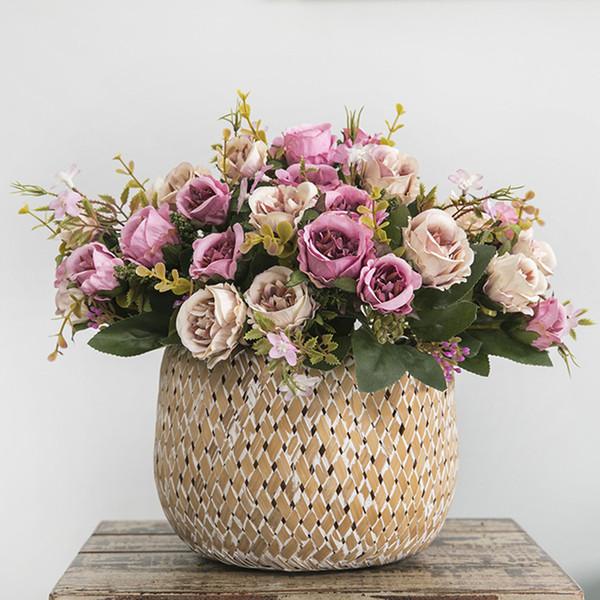 5 forks 8 Heads Bouquet Camellia Artificial Flower European Style Fake Flowers For Wedding Home Decor Bride Bouquet