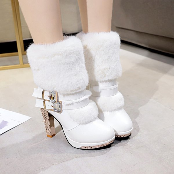 YOUYEDIAN Women Boots CryStal White Leather Boots Mid Calf High Heel Fashion Winter Female Shoes Size 35-40 Botas Mujer